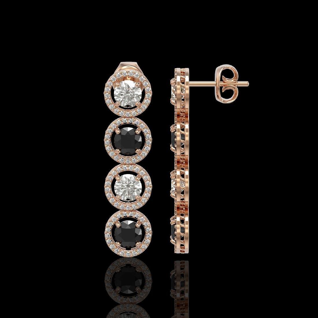 5.58 CTW Black & White Diamond Designer Earrings 18K - 2
