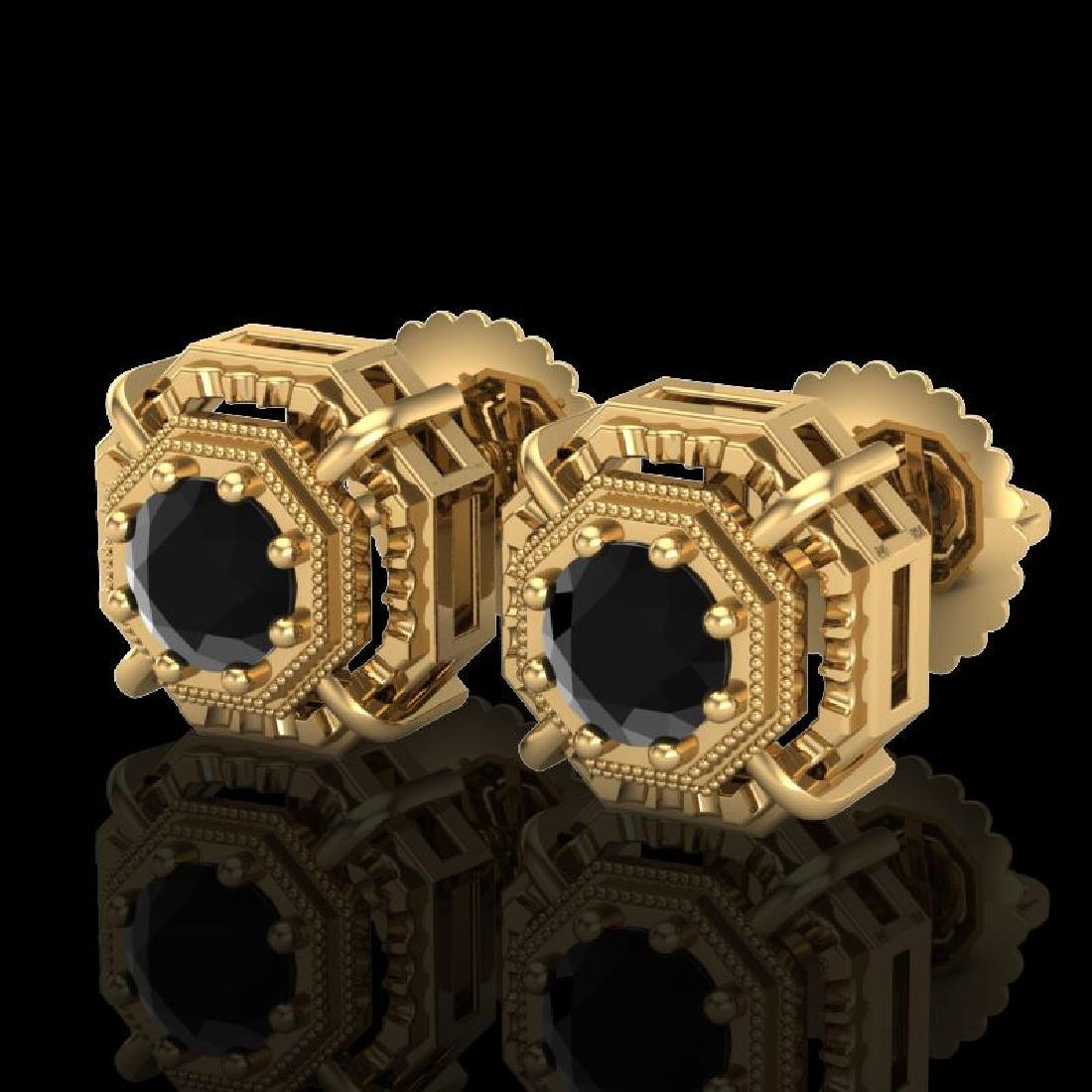 1.11 CTW Fancy Black Diamond Solitaire Art Deco Stud