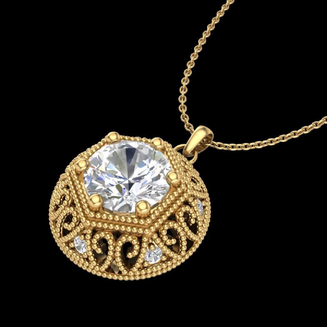 1.11 CTW VS/SI Diamond Solitaire Art Deco Necklace 18K
