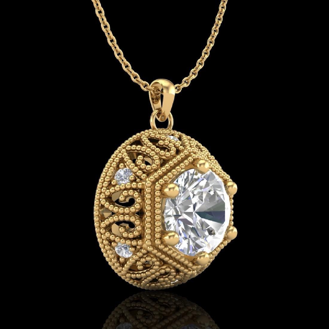 1.11 CTW VS/SI Diamond Solitaire Art Deco Necklace 18K - 2