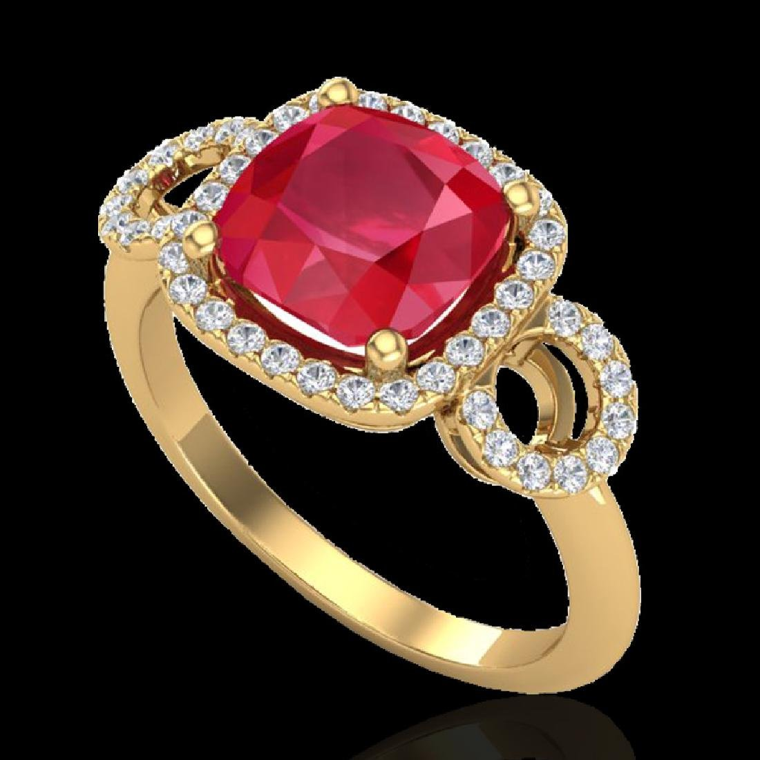 3.15 CTW Ruby & Micro VS/SI Diamond Ring 18K Yellow - 2