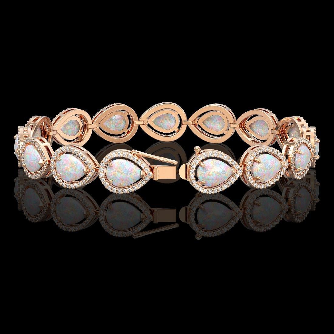 17.15 CTW Opal & Diamond Halo Bracelet 10K Rose Gold - 2