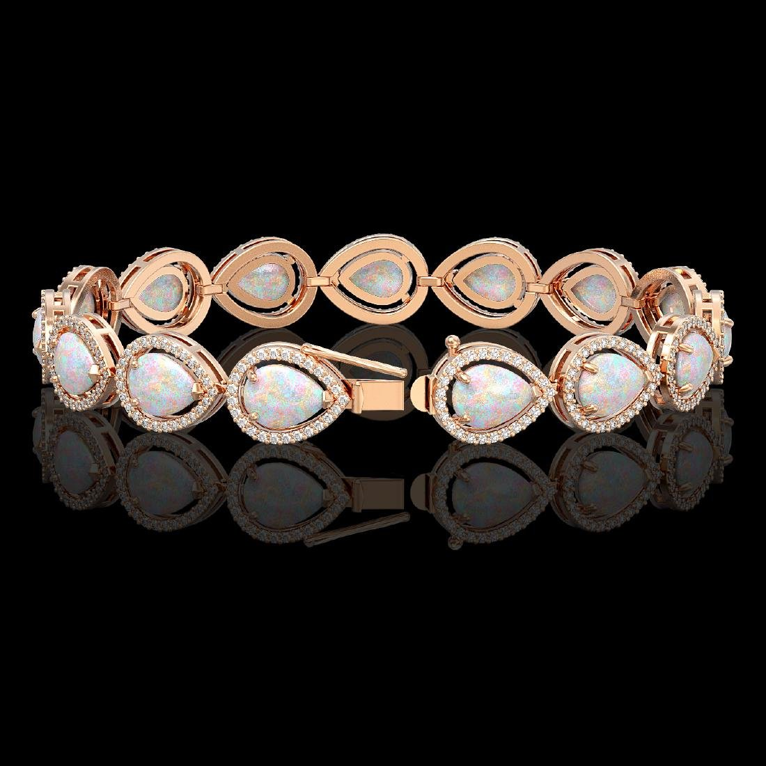 17.15 CTW Opal & Diamond Halo Bracelet 10K Rose Gold - 2