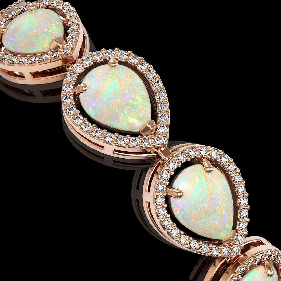 17.15 CTW Opal & Diamond Halo Bracelet 10K Rose Gold - 3