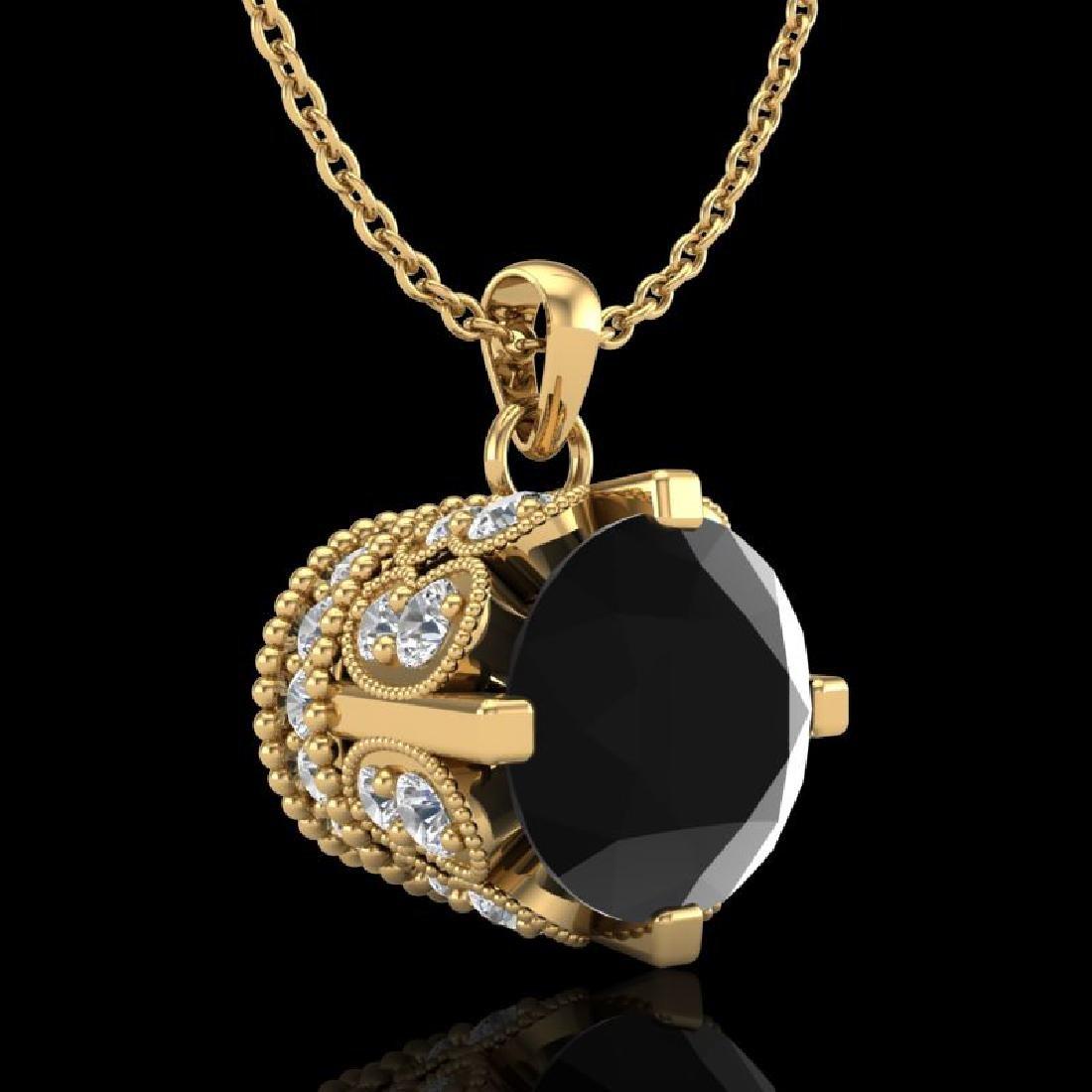 1.5 CTW Fancy Black Diamond Solitaire Art Deco Stud - 2
