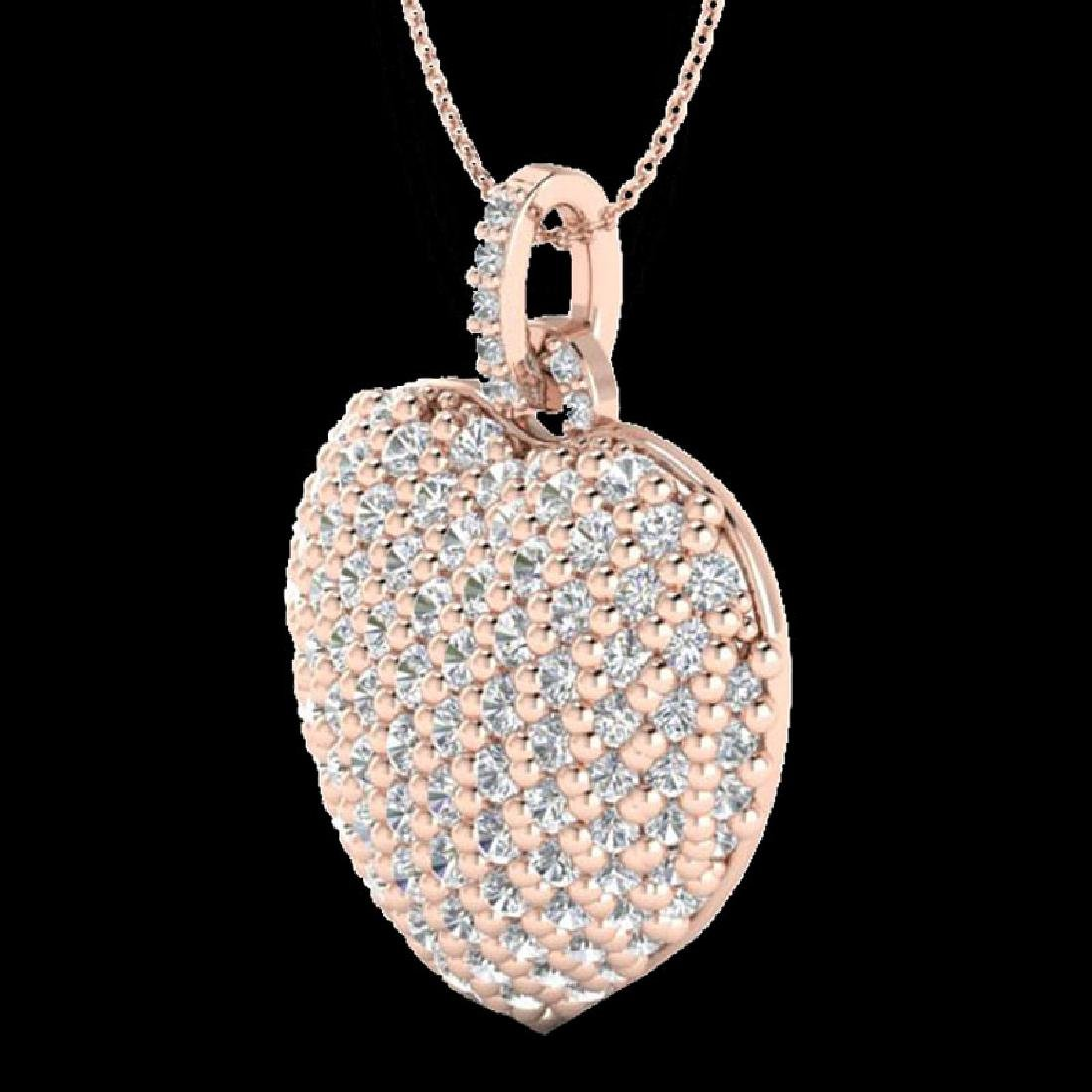 3 CTW Micro Pave VS/SI Diamond Designer Heart Necklace - 2
