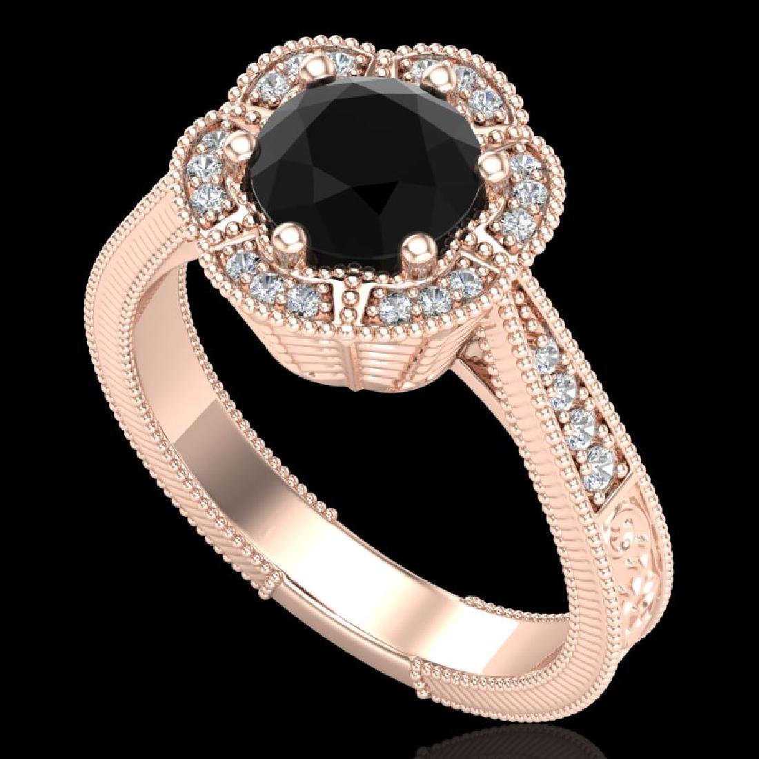 1.33 CTW Fancy Black Diamond Solitaire Engagement Art