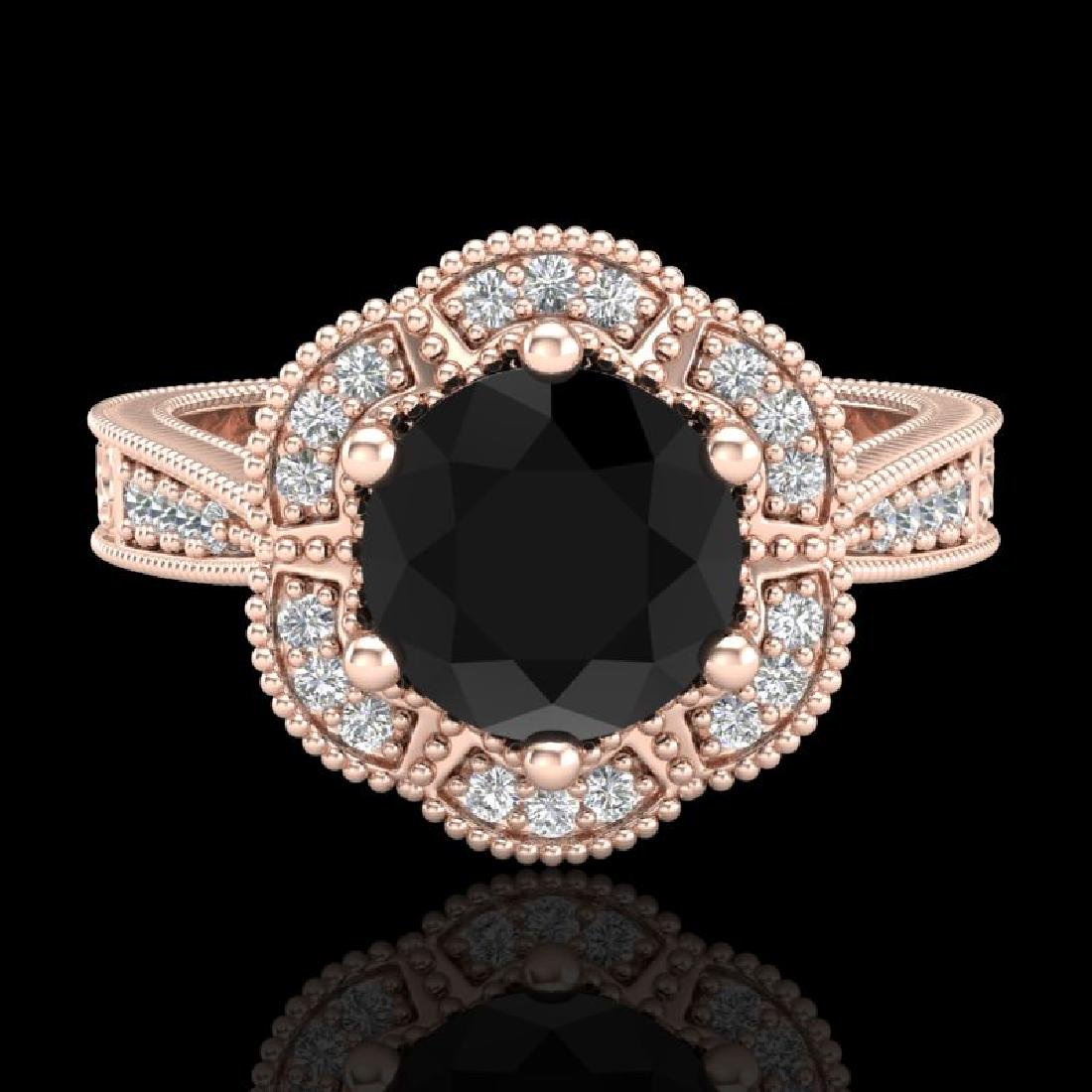 1.33 CTW Fancy Black Diamond Solitaire Engagement Art - 2