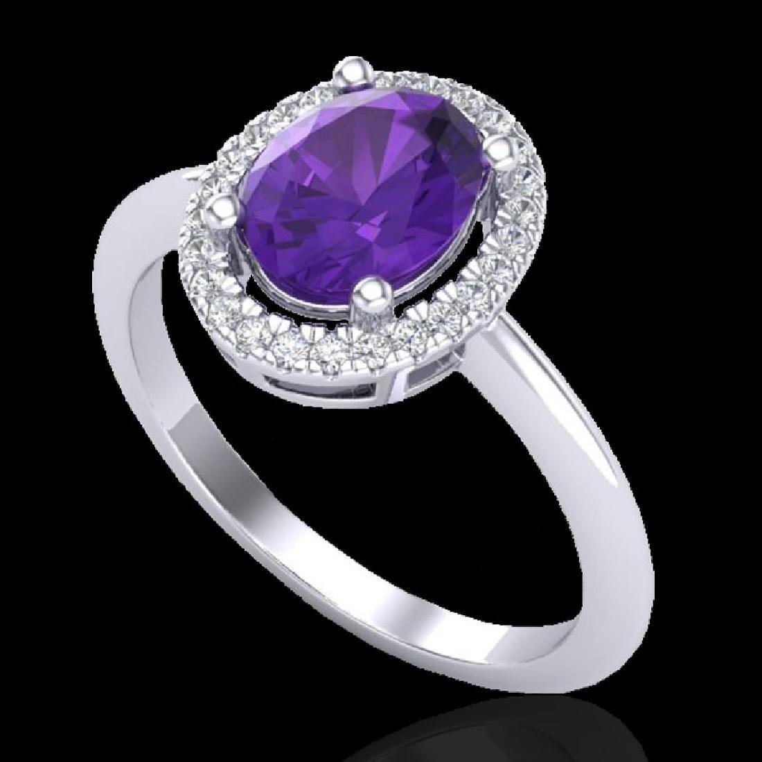 1.75 CTW Amethyst & Micro VS/SI Diamond Ring Solitaire - 2