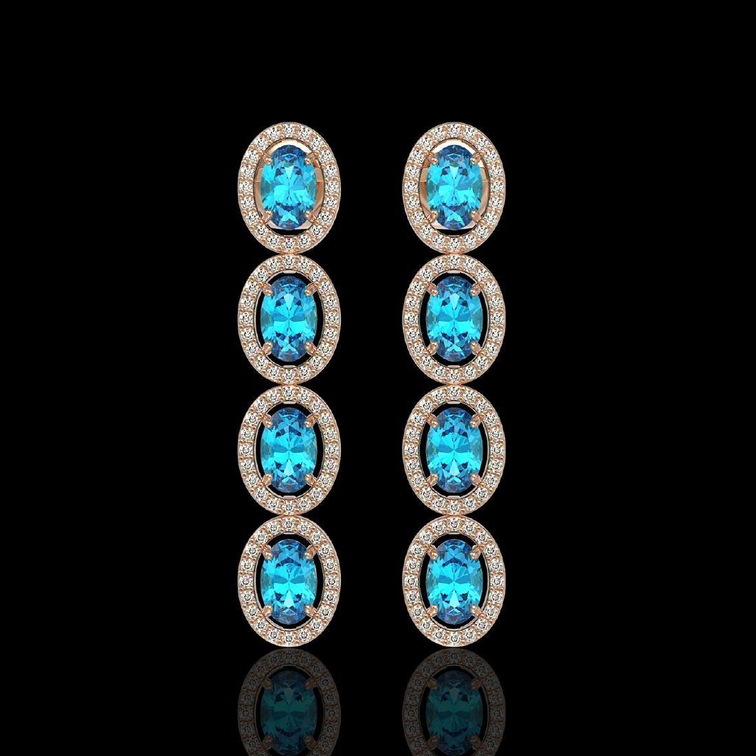 6.28 CTW Swiss Topaz & Diamond Halo Earrings 10K Rose