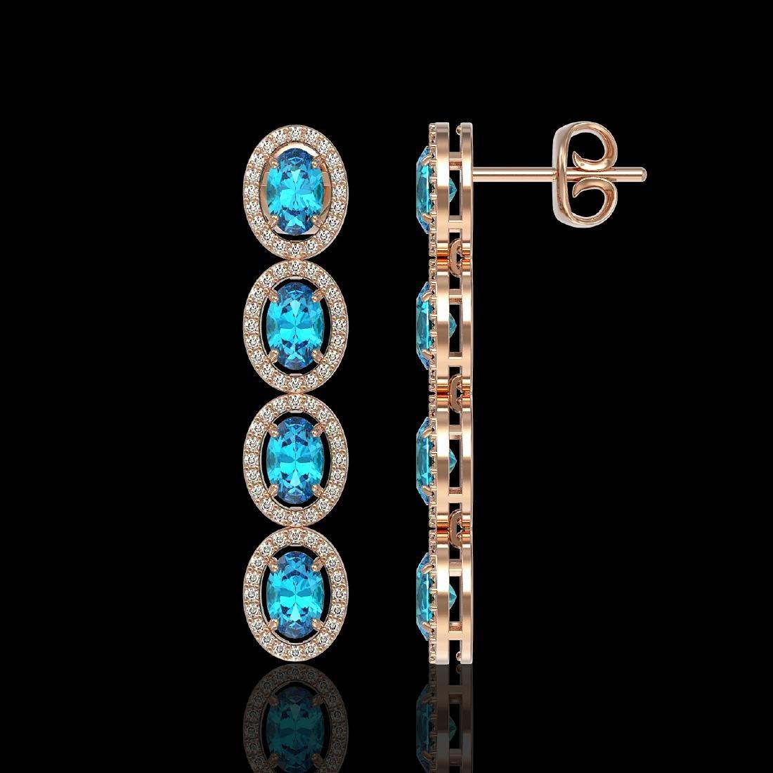 6.28 CTW Swiss Topaz & Diamond Halo Earrings 10K Rose - 2