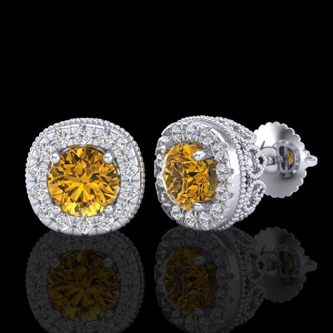 1.69 CTW Intense Fancy Yellow Diamond Art Deco Stud - 2