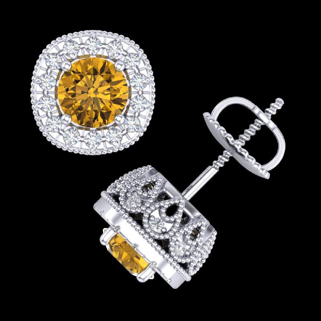 1.69 CTW Intense Fancy Yellow Diamond Art Deco Stud - 3