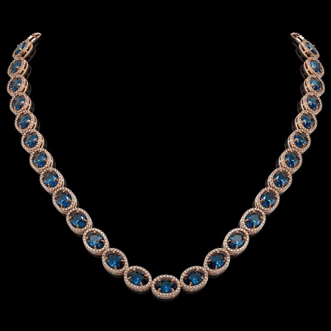 55.41 CTW London Topaz & Diamond Halo Necklace 10K Rose