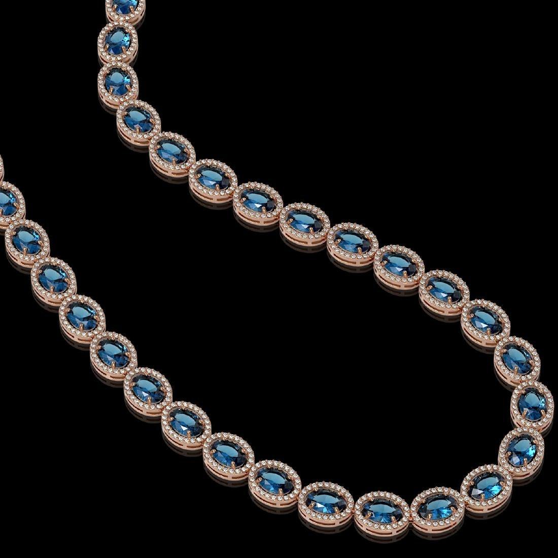 55.41 CTW London Topaz & Diamond Halo Necklace 10K Rose - 2