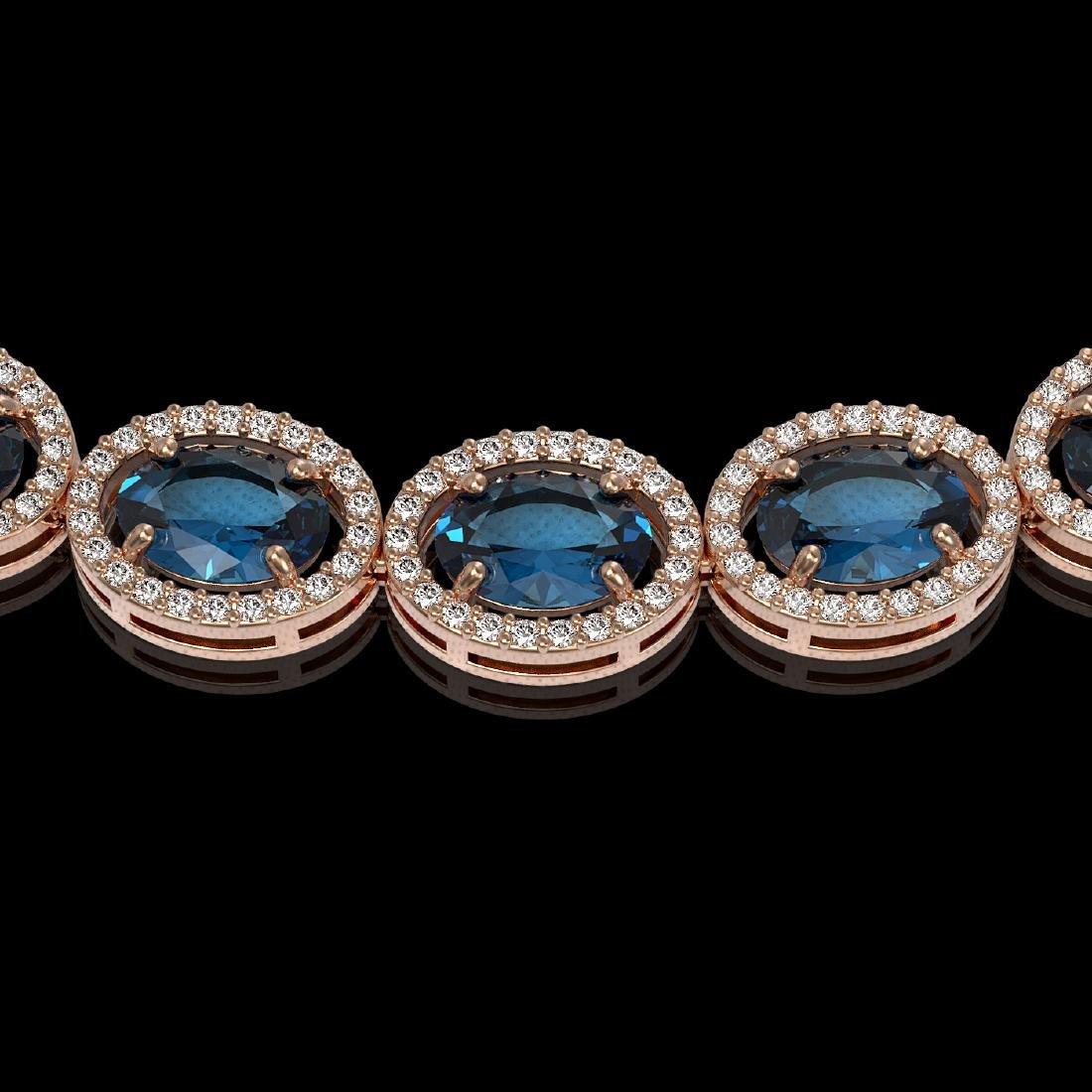 55.41 CTW London Topaz & Diamond Halo Necklace 10K Rose - 3
