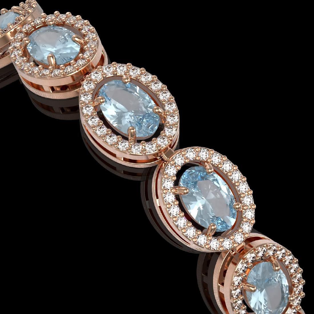 14.82 CTW Sky Topaz & Diamond Halo Bracelet 10K Rose - 3