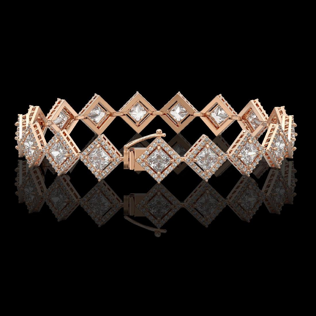 11.7 CTW Princess Cut Diamond Designer Bracelet 18K - 2