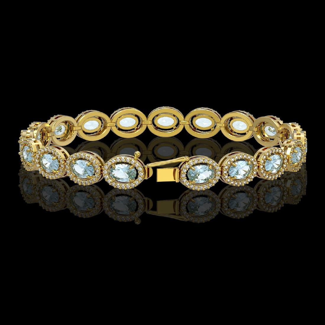 11.02 CTW Aquamarine & Diamond Halo Bracelet 10K Yellow - 2
