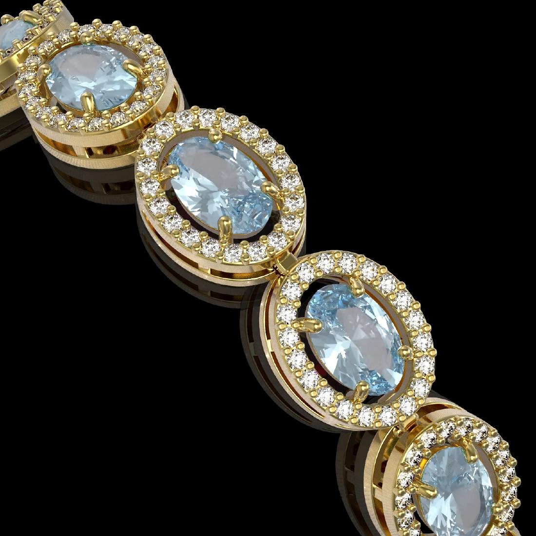 11.02 CTW Aquamarine & Diamond Halo Bracelet 10K Yellow - 3