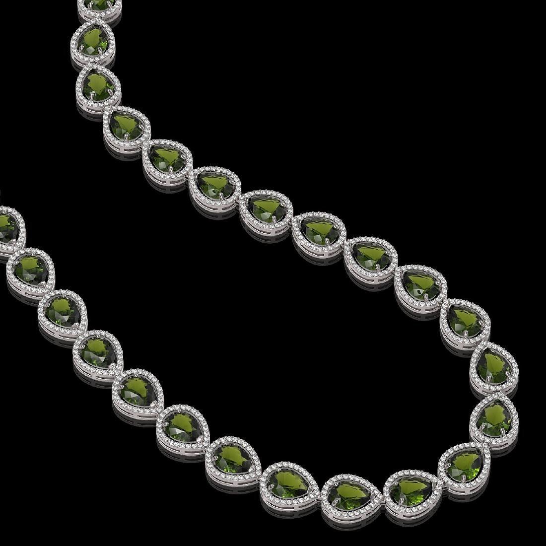 41.6 CTW Tourmaline & Diamond Halo Necklace 10K White - 2