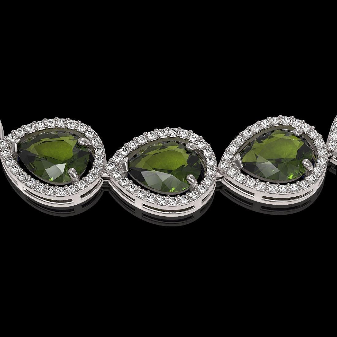 41.6 CTW Tourmaline & Diamond Halo Necklace 10K White - 3