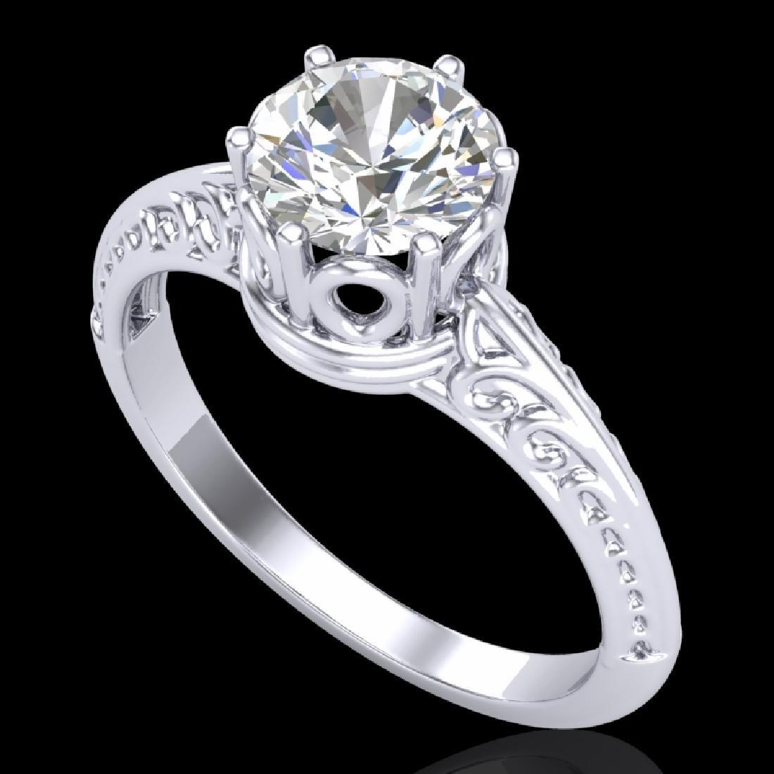 1 CTW VS/SI Diamond Art Deco Ring 18K White Gold