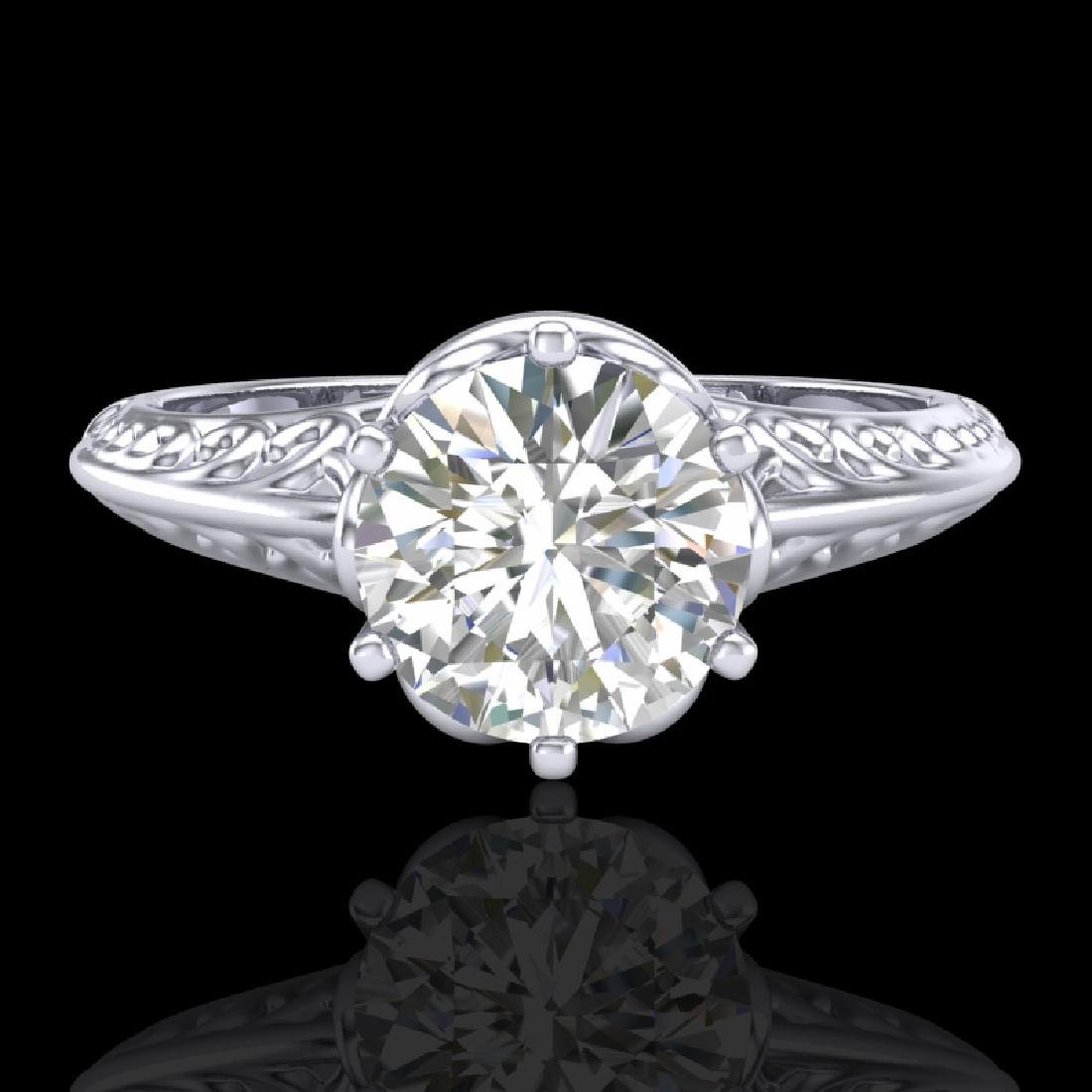 1 CTW VS/SI Diamond Art Deco Ring 18K White Gold - 2