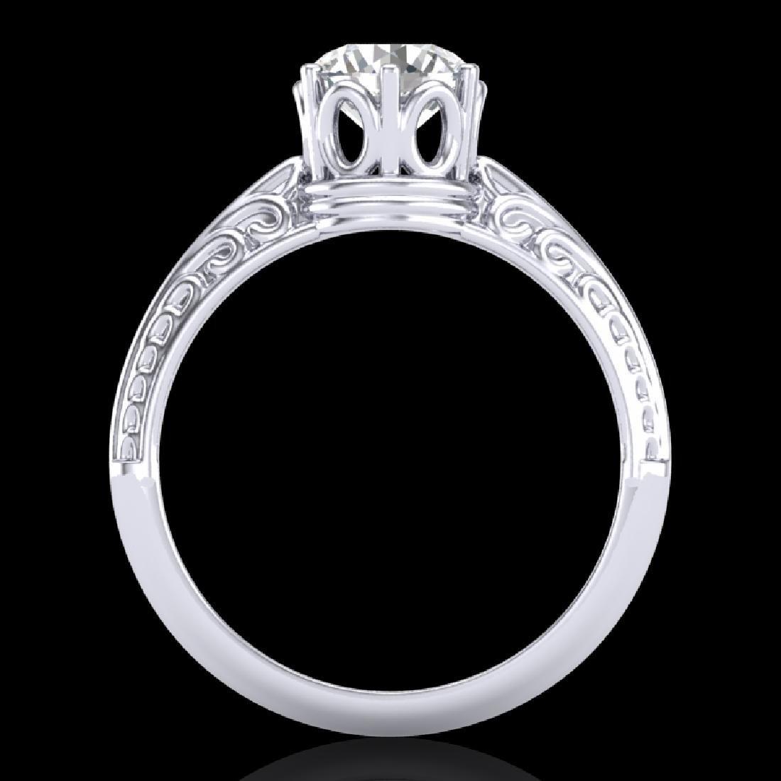 1 CTW VS/SI Diamond Art Deco Ring 18K White Gold - 3