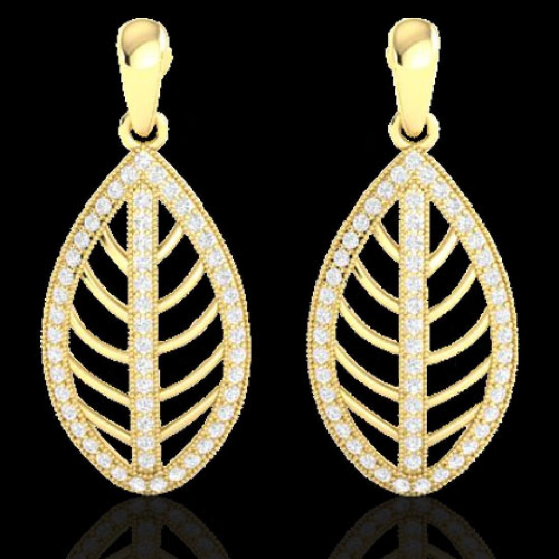 2 CTW Micro Pave VS/SI Diamond Designer Earrings 18K