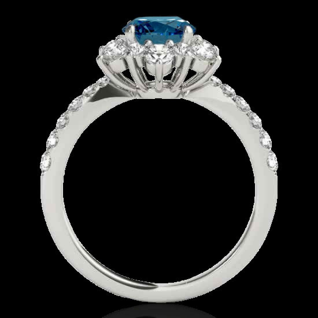 2.19 CTW SI Certified Fancy Blue Diamond Solitaire Halo - 2