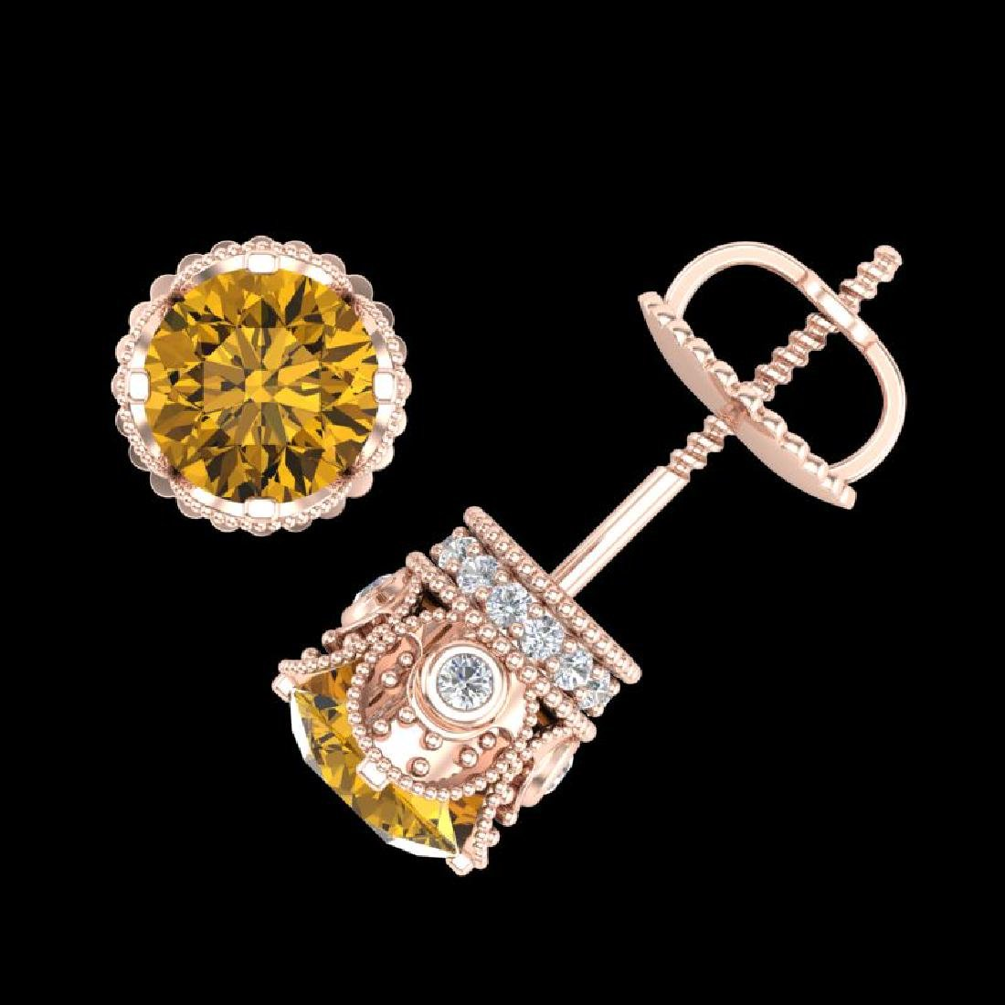 1.85 CTW Intense Fancy Yellow Diamond Art Deco Stud - 3