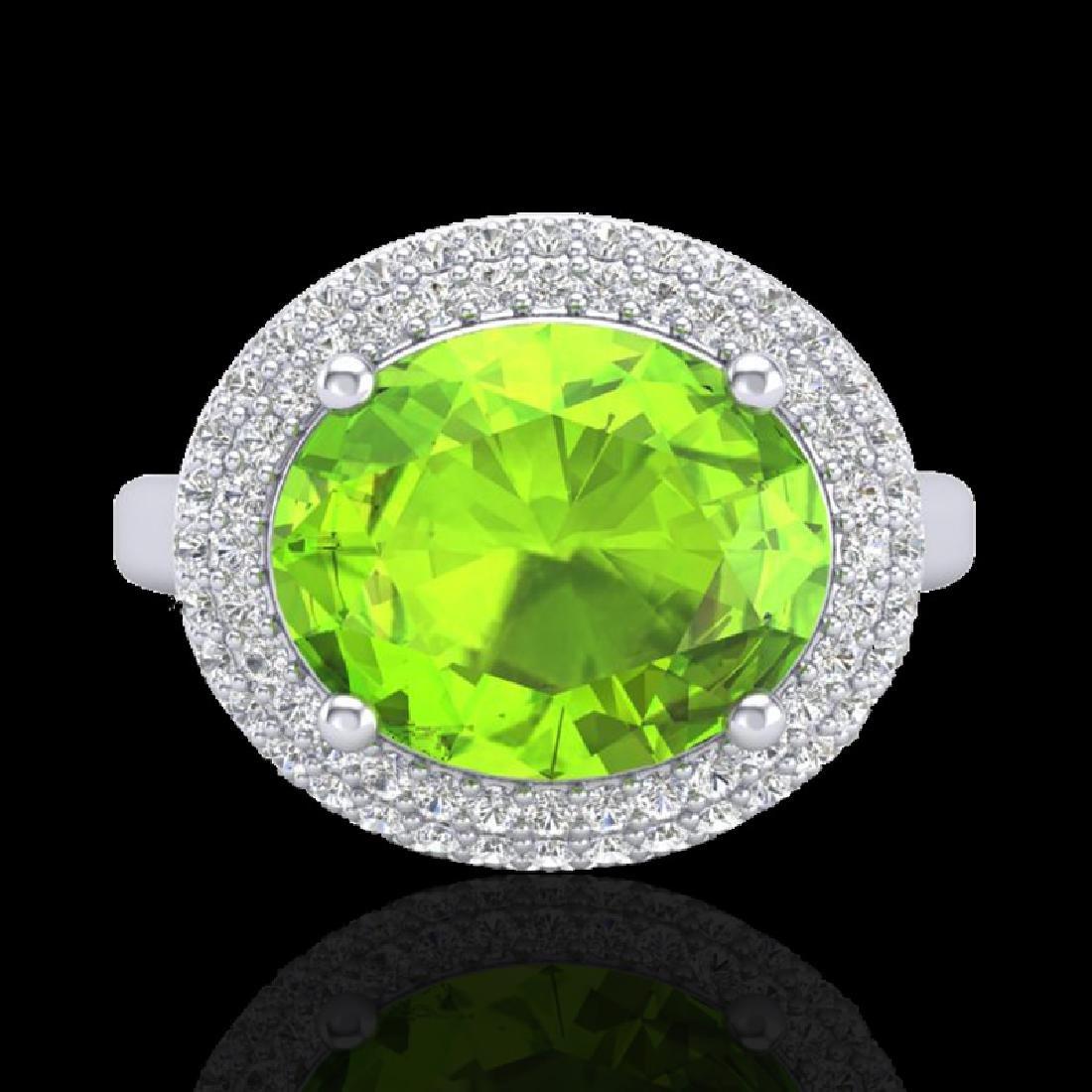 4.50 CTW Peridot & Micro Pave VS/SI Diamond Ring 18K - 2