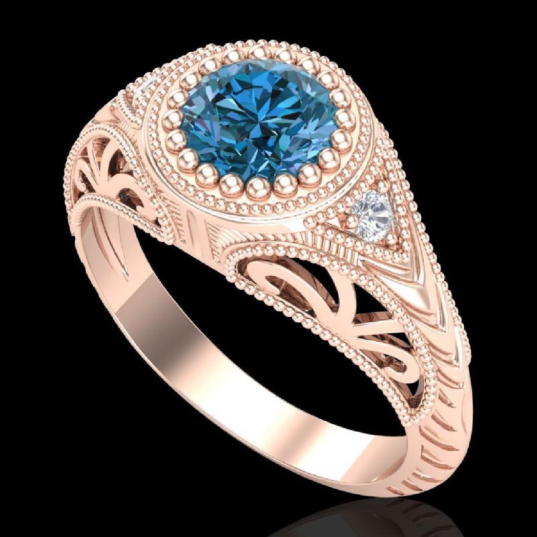 1.07 CTW Fancy Intense Blue Diamond Solitaire Art Deco