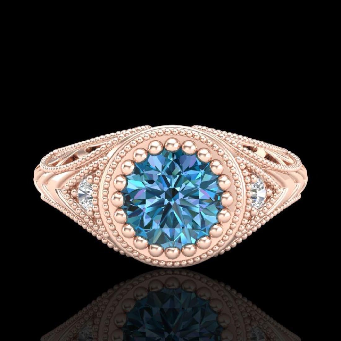 1.07 CTW Fancy Intense Blue Diamond Solitaire Art Deco - 2