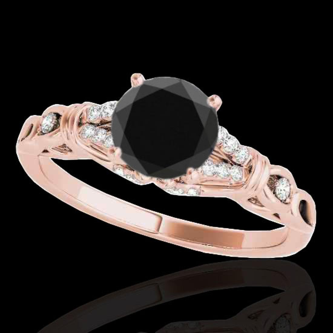 1.2 CTW Certified VS Black Diamond Solitaire Ring 10K