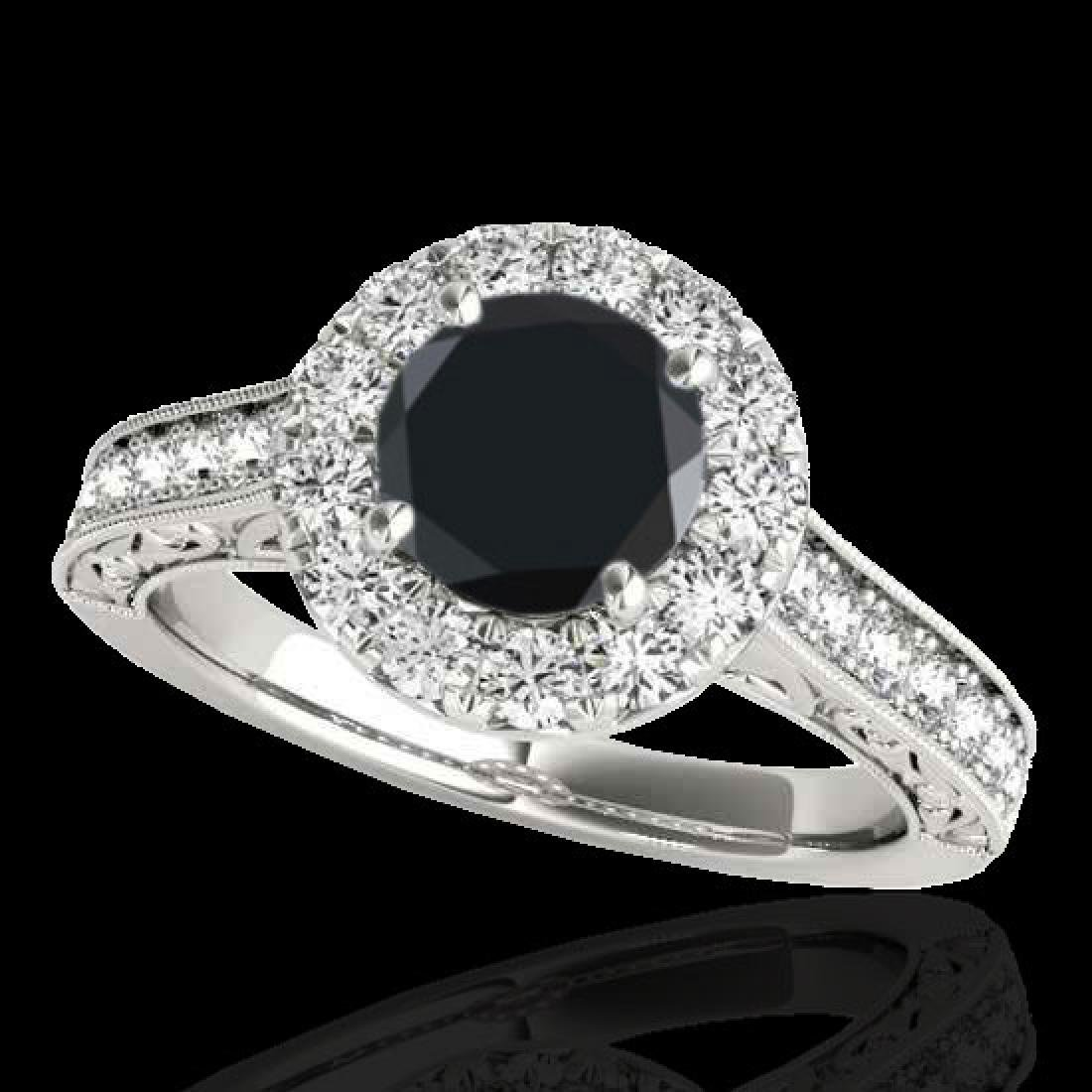 2.22 CTW Certified VS Black Diamond Solitaire Halo Ring