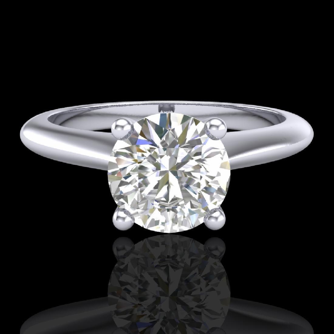 1.08 CTW VS/SI Diamond Solitaire Art Deco Ring 18K - 2