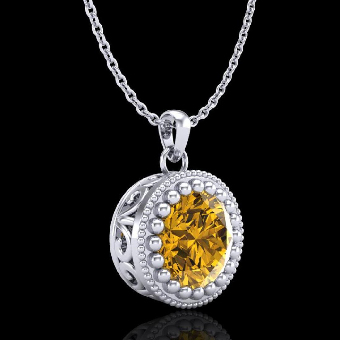 1 CTW Intense Fancy Yellow Diamond Solitaire Art Deco - 3