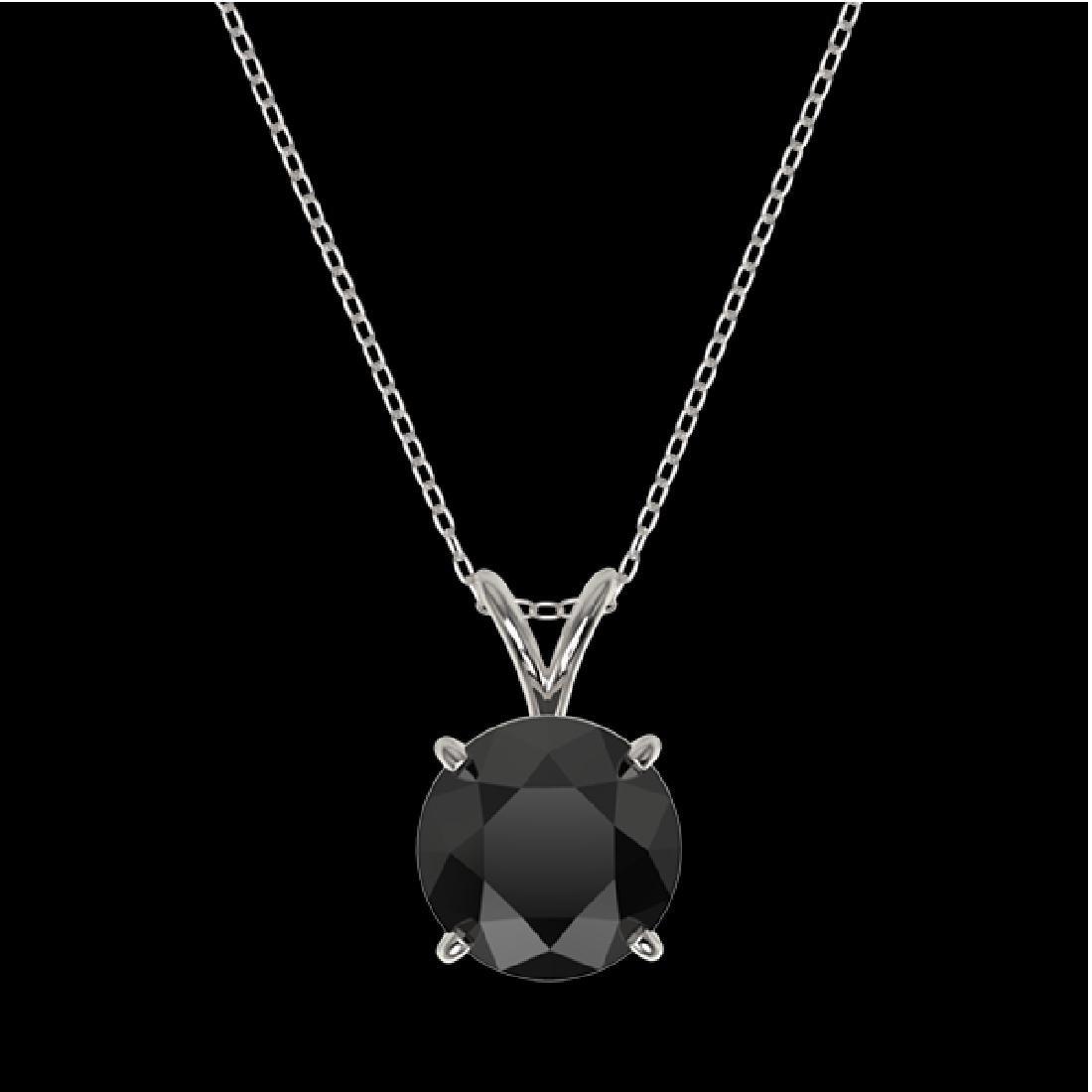 2 CTW Fancy Black VS Diamond Solitaire Necklace 10K - 3