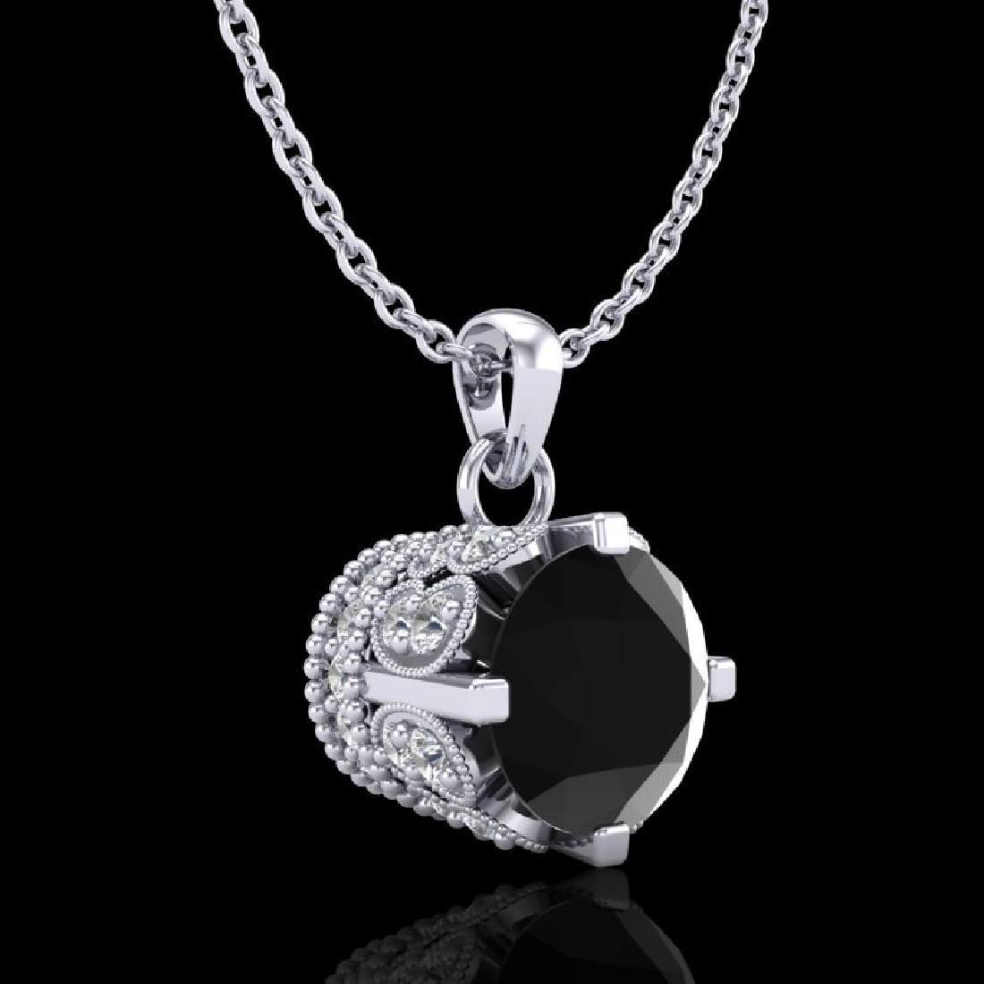 0.85 CTW Fancy Black Diamond Solitaire Art Deco Stud - 2