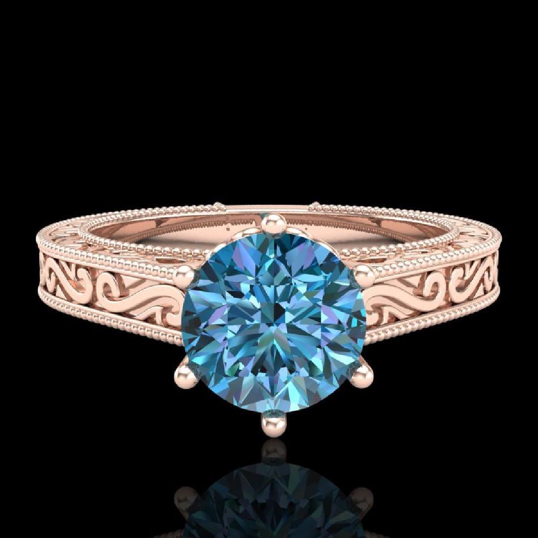 1 CTW Intense Blue Diamond Solitaire Engagement Art - 2