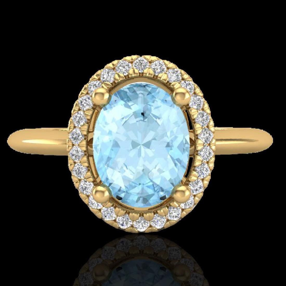 1.50 CTW Aquamarine & Micro VS/SI Diamond Ring