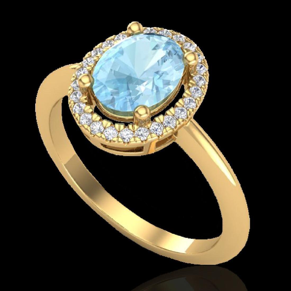 1.50 CTW Aquamarine & Micro VS/SI Diamond Ring - 2