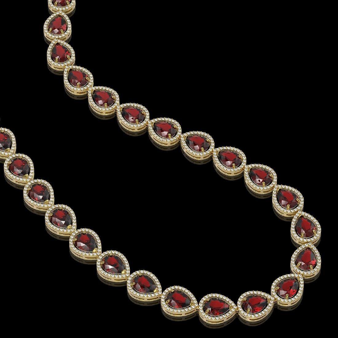 36.8 CTW Garnet & Diamond Halo Necklace 10K Yellow Gold - 2