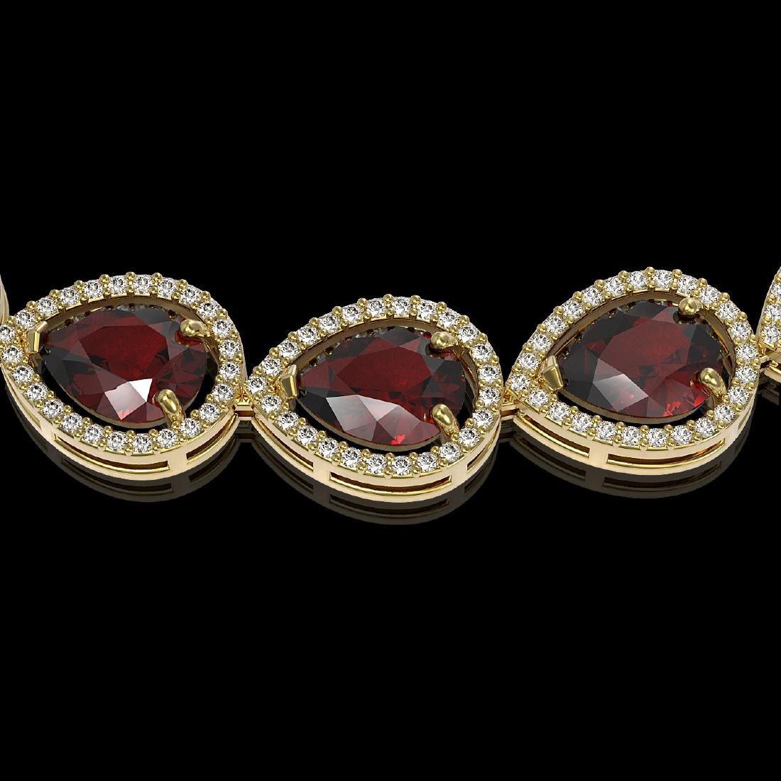 36.8 CTW Garnet & Diamond Halo Necklace 10K Yellow Gold - 3