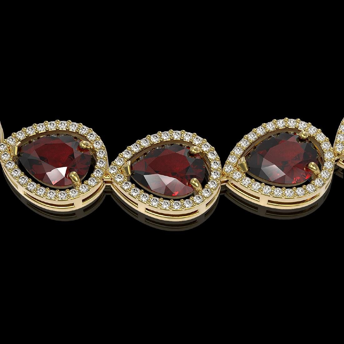 36.8 CTW Garnet & Diamond Halo Necklace 10K Yellow Gold - 3