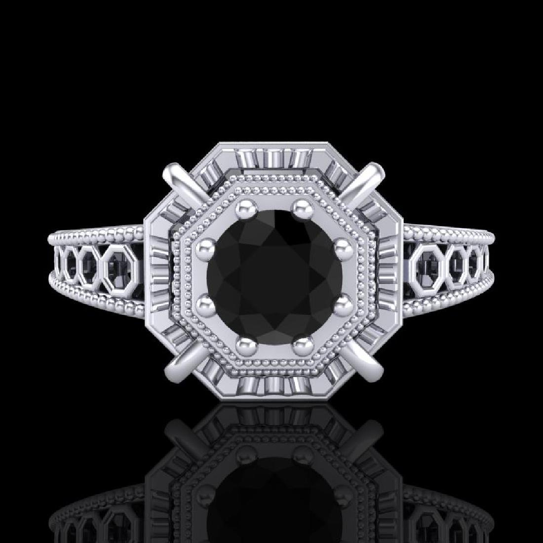 0.53 CTW Fancy Black Diamond Solitaire Engagement Art - 2