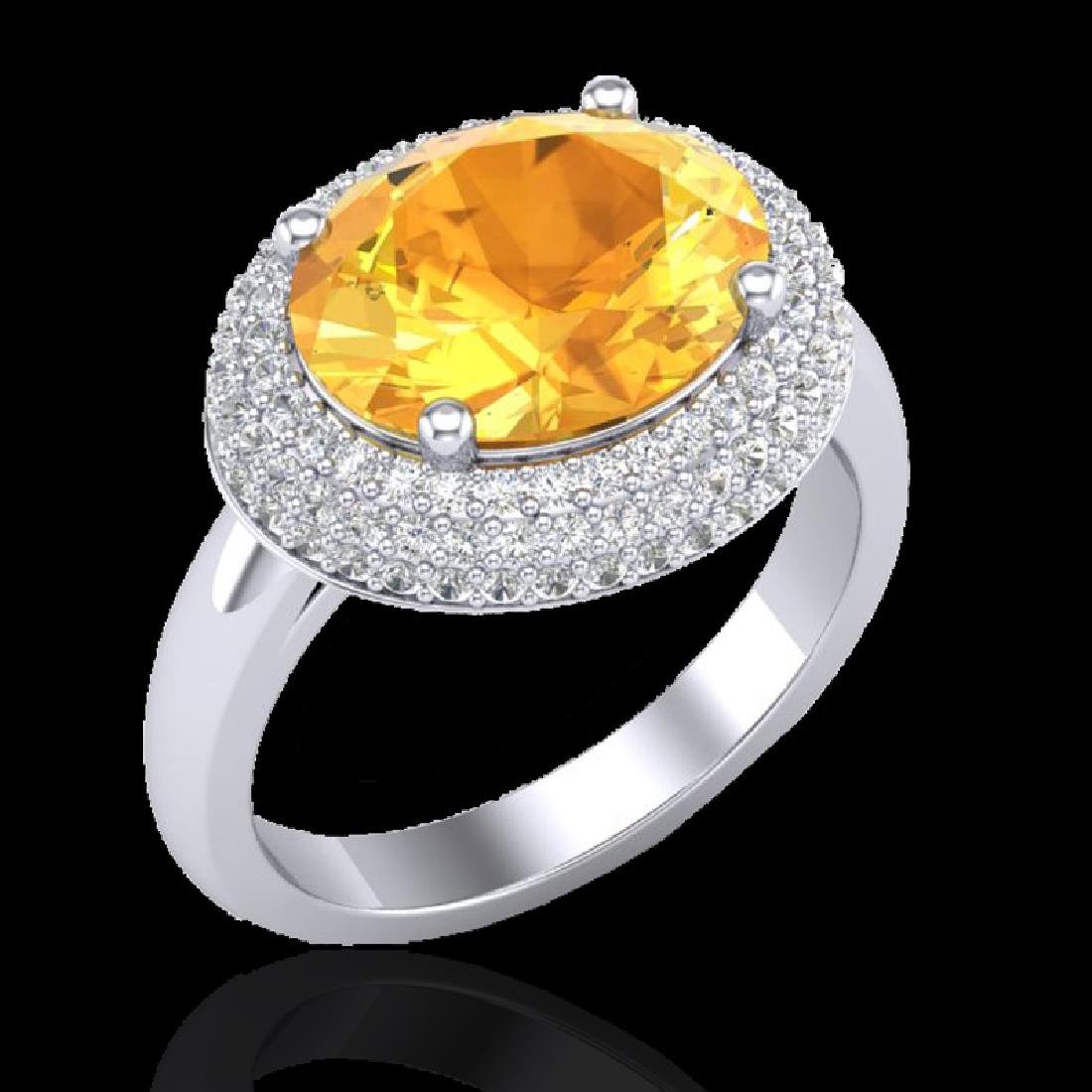 4 CTW Citrine & Micro Pave VS/SI Diamond Ring 18K White