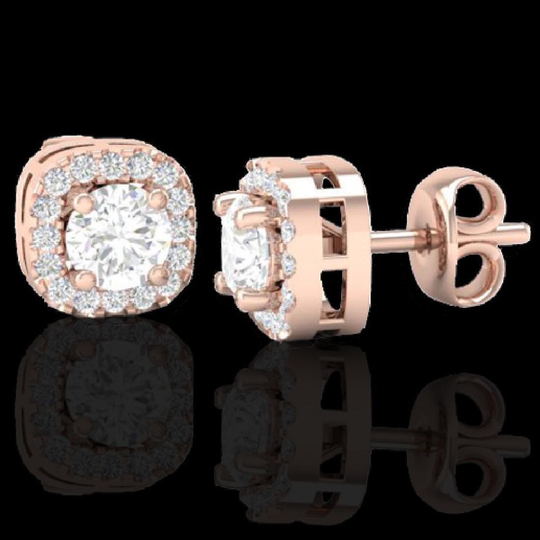 0.75 CTW Micro Pave VS/SI Diamond Earrings Designer - 2